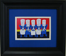 "GEORGE RODRIGUE FRAMED ""Heat in the Kitchen"" POSTCARD - 13"" x 11"""