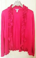 CHARTER CLUB Woman Plus size 3X Red Ruffle Shrug Cardigan Sweater sparkle