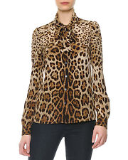 DOLCE & GABBANA Leopard Print Tie-Neck Silk Blouse IT 38  NWT $1.2K dress