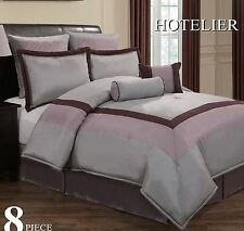King Size Bed In A Bag 8pc Luxury Bedding Set - Hotel Plum / Grey / Lavender