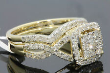 10K YELLOW GOLD 1.29 CARAT WOMENS REAL DIAMOND ENGAGEMENT RING WEDDING BAND SET