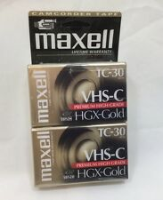 Maxell VHS-C HGX-Gold Camcorder Video Cassette Tape TC- 30 New Sealed 2 Pack