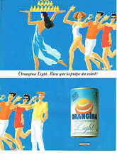 PUBLICITE ADVERTISING 094  1990  ORANGINA LIGHT   boisson à la pulpe du soleil