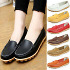 Ladies Womens Leather Casual Slip On Moccasin Flat Boat Loafers Shoes Size 5-8