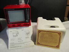 VINTAGE CURTIS RED MINI PORTABLE B & W TV - MODEL RT035 - NEW IN ORIGINAL BOX