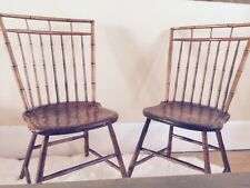 Pair: Antique c 1800-1830 Boston Windsor Chairs Bentwood Bamboo Birdcage Style