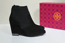 New Tory Burch Black Brenda Suede & Lycra Wedge Heel Ankle Bootie Shoes sz 10