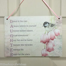Figlia SHABBY CHIC targa segno Regalo Retrò Vintage-Dance in the Rain-Bird