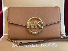 NWT MICHAEL KORS HUDSON LEATHER LARGE PHONE WALLET CROSSBODY BAG IN ACORN