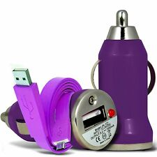 Purple Single Port USB Car Charger & Flat Data Cable For Samsung Galaxy S3