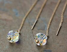 Crystal Ball threader earrings -Sparkly Swarovski on 14k gold filled chain