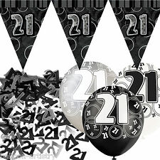 Black Silver Glitz 21st Birthday Flag Banner Party Decoration Pack Kit Set