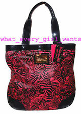NEW BETSEY JOHNSON Flat Pink Shopper Zebra Zebraella stripes Handbag Tote Bag