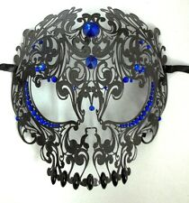 Black Skull Metal Laser Cut Masquerade Prom Mask Blue Crystals