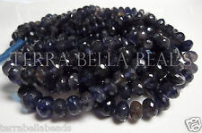 "7"" strand blue IOLITE faceted gem stone rondelle beads 5mm - 7mm WATER SAPPHIRE"