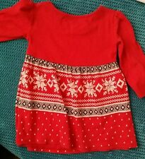 Next winter Christmas long sleeve knitted red dress girl 12-18 months