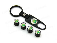 Black Tire Wheel Rims Stem Air Dust Valve Caps Wrench Key Chain Green Frog Toad