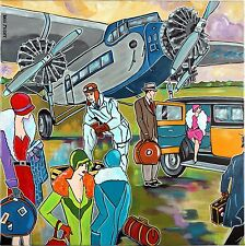 "Tableau Art Deco contemporain Aviation "" Mademoiselle prend l'avion "" KRIS MILVY"