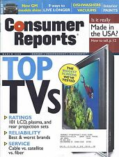 Consumer Reports Magazine March 2008 Plasma LCD TV's Dishwashers Vacuums Paints