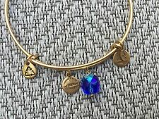 NEW RARE ALEX and ANI Cobalt Blue OONA Drop Charm BEADED BANGLE Gold BRACELET ��