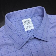 BROOKS BROTHERS Mens 15 35 Slim Blue Plaid Supima Non Iron L/S Spread Shirt