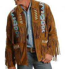 Best Western Style Real Suede Leather Brown Jacket, Fringes Beads & Bones