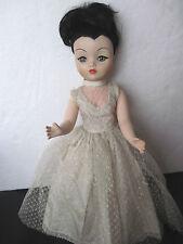 """Vintage Uneeda Dollikin 19"""" Jointed Doll - Widow's Peak Dark Hair"""