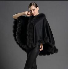 Opulent Colorful Real Best Fox Fur pashm Cloak poncho Cape/Coat/Wraps/Dark Gray