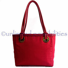 OROTON New Stencil Large Tote Shoulder Hand Bag Red Leather Red Jacq Tag + Bag