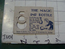 vintage DADDY & JACK'S circa 1950's trick ---card only---: THE MAGIC IMP BOTTLE