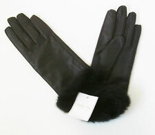 BILLY BAG Ladies  Womens Brown Leather Gloves, Black Faux Fur Cuffs  Size 7 BNWT