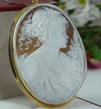 STUNNING LARGE 18CT GOLD SIGNED SHELL CAMEO BROOCH PENDANT 11.3 GRAMS