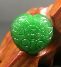 CHINESE Green JADE PENDANT Coin lotus Flower Ruyi Love Heart Amulet 241896