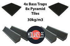 Pro Acoustic Foam Bass Traps Pyramid Tiles Home Studio Room Treatment Kit