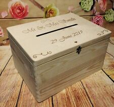 Personalised Wedding Cards Drop in Box Guests Book Wish Wooden Box with Slot