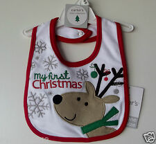 "Carter's Baby Bib ""My First Christmas"" One Size NWT"