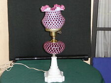 RARE FENTON CRANBERRY POKA DOT GONE WITH THE WIND TABLE LAMP