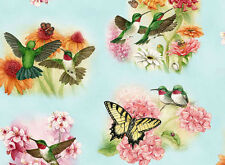 "19"" REMNANT HUMMINGBIRDS  BUTTERFLIES BLUE  ELIZABETH STUDIO COTTON QUILT FABRIC"