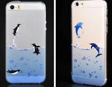 Set of 2 iPhone 6S, 6 Silicone Clear Case Penguin Dolphin Soft Gel Cute Cover