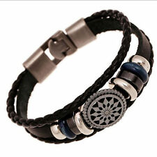 Fashion Mens Handmade Leather Cute Infinity Charm Wrap Bracelet Bangle Jewelry