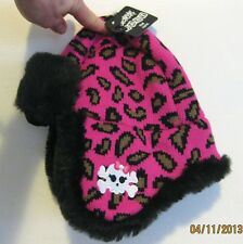 Spencer's Baby Pink Leopard Print Hat with Faux Fur Trim and Girly Skull Toddler