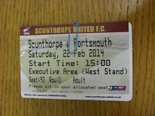 22/02/2014 Ticket: Scunthorpe United v Portsmouth  (light fold). Thanks for view