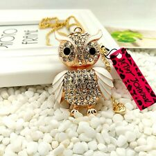 Betsey Johnson White Owl Crystal Pendants chain Sweater chain necklace JJ135