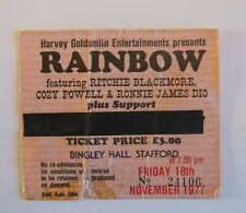 RAINBOW   Ritchie Blackmore's Rainbow TICKET   STAFFORD 1977