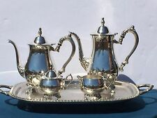 Footed Oneida Silverplate Coffee & Tea Set on Leonard Butlers Tray With Handles