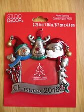 2016 Christmas Ornament Trio Santa Claus Snowman Reindeer Photo Picture Frame