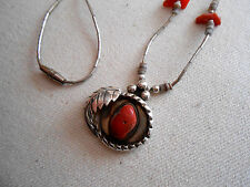 Southwest Sterling Silver Liquid Silver Coral Necklace   319111
