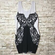 Lane Bryant Black White Sheath Dress Lace Design Bodycon Size 18/20 Wiggle
