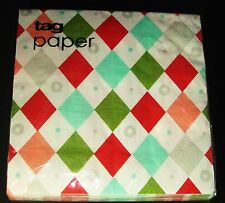 Tag Paper Harliquin Print Chirstmas Luncheon Napkins 20 pieces Holiday Dinner