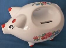 UNUSUAL VINTAGE RETRO KITSCH FLORAL PIGGY MONEY BANK BOX HANDLE TWIN COIN SLOT